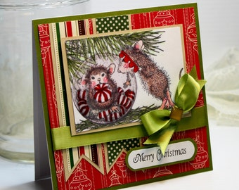 "Handmade Christmas Card Handmade Greeting Card 5.25 x 5.25"" Square Merry Christmas 3D Cards House Mouse  OOAK"