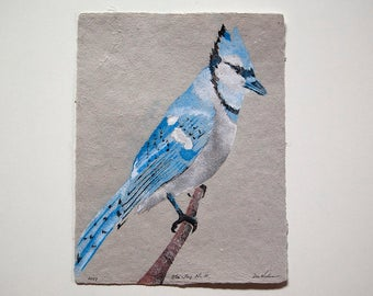 Blue Jay No. 10 – pulp painting on handmade daylily / cotton paper (2017), Item No. 248.10