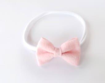 Baby Headband / Pink Felt Bow Headband / Newborn Headband / Nylon Headband / Pink Baby Headband / Bow Headband / Baby Girl Headband