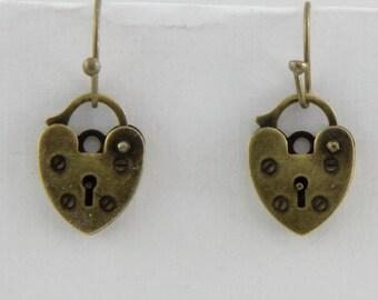 Handmade Brass Padlock Earrings  Brass Hooks Oscarcrow