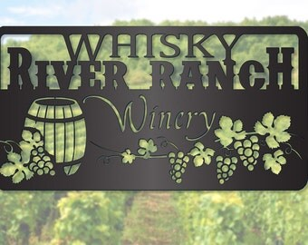 Winery Sign with Grapes and Wine Barrel LMW-16-85