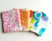 """Vintage Fabric Fat Quarters, Bundle of 4 """"Watercolor Florals"""", vintage sheets, reclaimed vintage linens"""