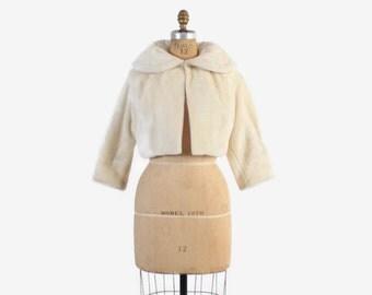 Vintage 60s Faux FUR COAT / Plush 60s Winter WHITE Soft Ivory Bridal Bolero Jacket