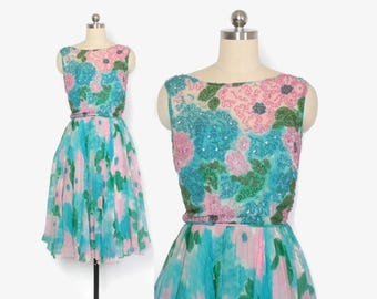 Vintage 50s PARTY DRESS / 1950s Floral Silk Chiffon Beaded Dress XXS