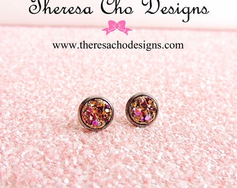 Small Metallic Magenta and Gold Faux Druzy Stud Earrings in Gunmetal, Druzy Studs, Faux Druzy Studs, 8mm Faux Druzy Studs