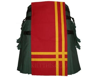 Interchangeable Hunter Green Red Yellow Double Cross Utility Kilt Custom Fit Adjustable Many Options