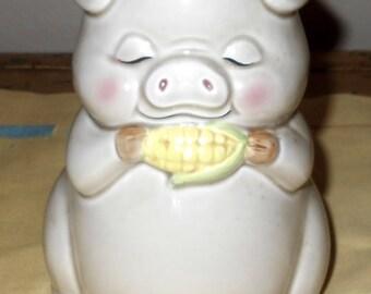 Lefton Piggy Bank - Pig Eating Corn - Vintage Piggy Bank