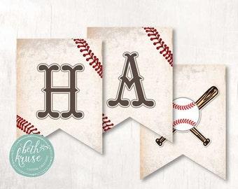 Baseball Happy Birthday Printable Banner INSTANT DOWNLOAD by Beth Kruse Custom Creations
