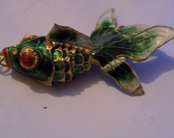 Vintage Articulated Koi fish pendant,1980s pendant , enamelled  pendant, vintage pendant, fish pendant