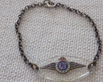Antique bracelet, RCAF bracelet, 1940's bracelet, military bracelet, Canadian air force,insignia , sterling silver and old plastic