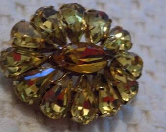 Vintage brooch, Sherman brooch,Sherman jewelry, 1960s topaz crystal brooch,designer brooch