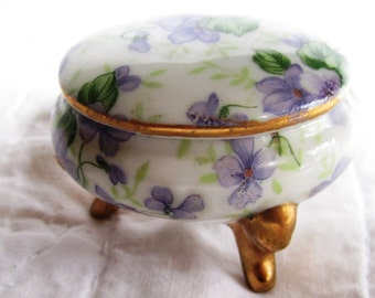 Petite vintage porcelain floral trinket box white with purple flowers Made in Japan