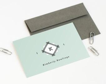 Monogram Note Cards, Personalized Stationery Set, Folded Stationery // DIAMOND MONOGRAM