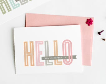 Hello Note Cards, Personalized Stationery Set, Women's Custom Stationery // CHEERY HELLO
