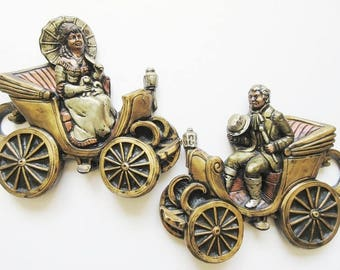 Chalkware Wall Hanging Plaques, Victorian Lady and Man in Carriage 3D Wall Decor, Mid Century Vintage Set