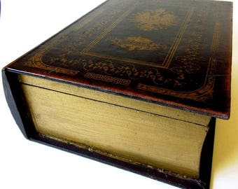"""Wood Book Box, War and Peace, Leo Tolstoy 1869, 10 1/2"""" Vintage Jewelry Safe"""