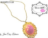 Vintage Inspired Purple Pink Gypsy Oval Necklace