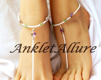 Butterfly Barefoot Sandals Beach Sandals Green Crystal Anklets Sandals