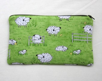 Sheep and Chicks Fabric  Zipper Pouch / Pencil Case / Make Up Bag / Gadget Pouch