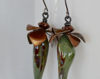Elongated Drop Earrings, , Green Glass Earrings, Fantasy Floral Earrings,  Glass Art Bead Earrings,  Unusual Earrings