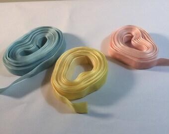 Destash Velvet Ribbon Pink, Yellow and Blue Pastel Velvet Ribbon Sewing Supply Jewelry Supply