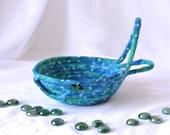 Fun Ring Basket, Handmade Blue Bowl, Candy Dish, Blue Cotton Basket, Boho Chic Fabric Bowl, Itty Bitty Change Bowl