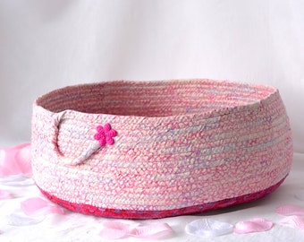 Pink Storage Basket, Handmade Pink Cotton Basket, Shabby Chic Pink Storage Organizer, Cat Pet Bed, Dog Bed, Toy Basket, Decorative Basket