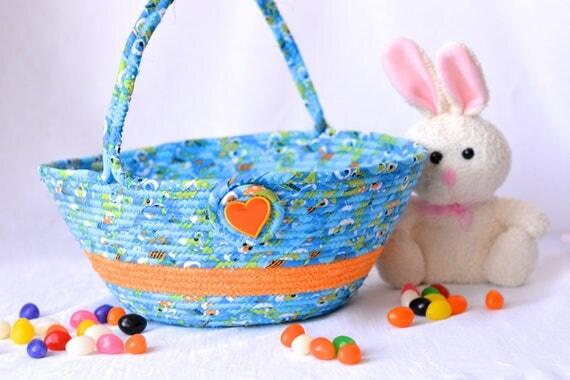 Boy Easter Basket, Handmade Baby First Easter Basket, Cute Easter Bucket, Blue Easter Decoration, Boy Easter Egg Hunt Bucket