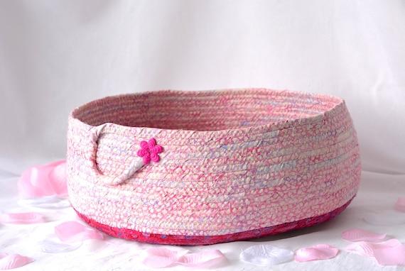 Pink Batik Basket, Handmade Pink Cotton Basket, Shabby Chic Pink Gift Basket, Cat Pet Bed Furniture, Dog Bed, Toy Basket, Decorative Basket