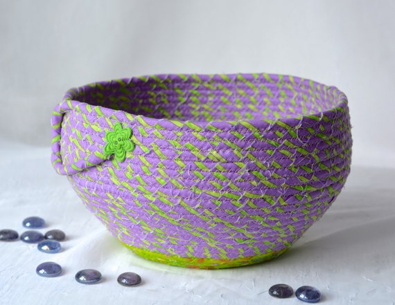 Bathroom Lotion Holder, Handmade Napkin Holder, Hand Coiled Knitting Yarn Basket, Purple Fabric Basket, Modern Chic Fabric Bowl