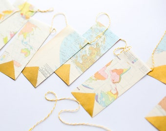 Vintage Map Paper Garland   Brushed by Hand with Gold Leaf