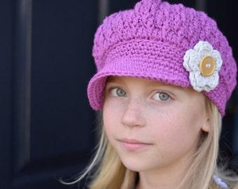 Crochet Newsboy Hat, Hat for Kids, Girls Newsboy Hat, Little Girl Newsboy Cap, Women's Crochet Newsboy Hat, Hats for Girls, Women's Hats