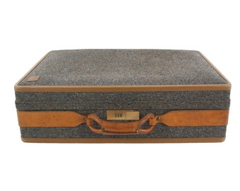 Tweed & Leather Hartmann Suitcase - Vintage Luggage - Pullman