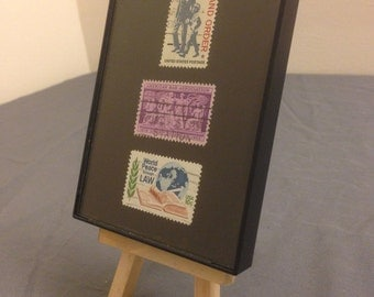"""Laywer - Recycled Postage Stamp Framed Art 3.5""""x5"""", Attorney, lawyer gift, paralegal, law, law enforcement, court of law, law and order"""