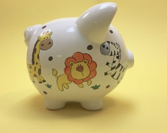 JUNGLE ANIMALS PERSONALIZED Hand Painted Piggy Bank