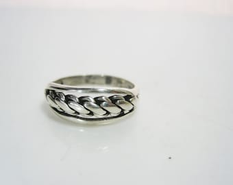 Vintage Southwestern Sterling Silver Ring With Twist Wire Center - Size 7