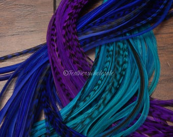 Mermaid Hair Feathers Wholesale 100 Long Rooster Feathers Electric Blue Turquoise Purple Violet Hair Accessories