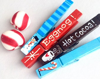 CHRISTMAS CLOTHESPINS hand painted magnetic pegs candy canes snowman hot cocoa eggnog