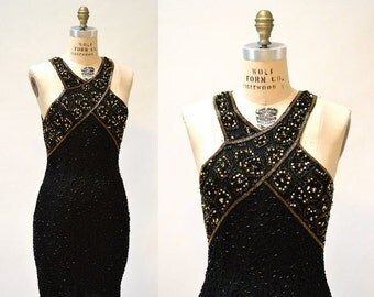 15% OFF SALE Vintage Beaded Dress Size Medium Large Black and Gold Art Deco// 90s Prom Dress Black Metallic Body Con Beaded dress Size Mediu