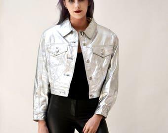 Vintage Leather Jacket Metallic Silver Small By Lillie Rubin// 90s Metallic Silver Leather Jacket