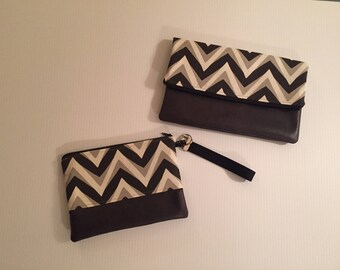 Black/Gray clutch faux leather bottom