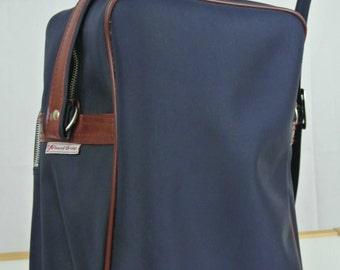 1970s Navy Blue and Coffee  Luggage Bag