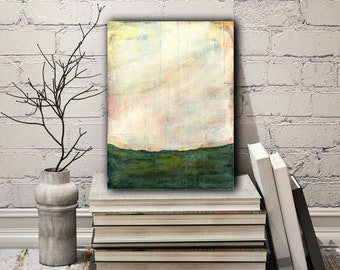 """9x12 Abstract Painting, Abstract Art, Original Art, Abstract Landscape Painting, Impressionist Contemporary Art, Orange, Peach, Green """"Fall"""""""