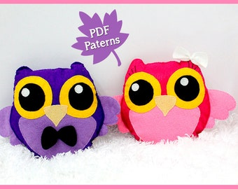 Pattern Owl Plush and Brooch - Instant Download!