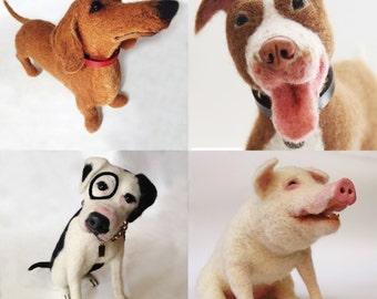 Needle felted customized pet portraits