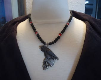 """Handmade Beaded Lava Stone and Coral Gemstone and Silver Tone Beaded Necklace w/ Artist Signed Pewter Raven w/ Skull, 18"""" , Gothic Inspired"""