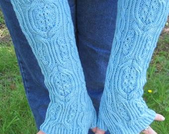 Knit Fingerless Mitt Pattern:  Kaizu Long Fingerless Mitt Knitting Pattern