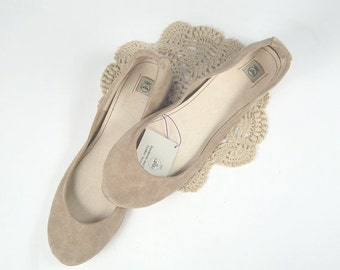 Ballet Flats Shoes in TAN Soft Suede Slip on Ballerinas - Reserved for Sam