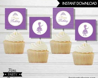 Sofia the First Birthday Party- Printable Cupcakes Toppers by Fara Party Design  by Fara Party Design | Princess Sofia