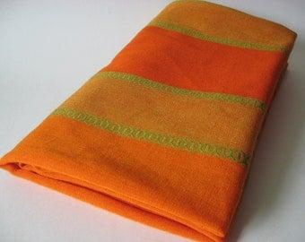 Stunning woven cotton mod vintage curtain panel fabric orange green embroidered wonderfulness